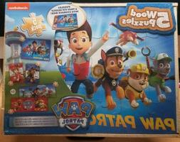 Paw Patrol 5 Wood Puzzles in Wooden Storage Box - 80 Pieces