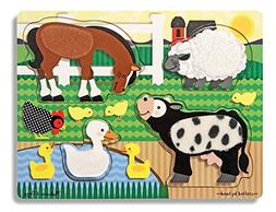 Melissa & Doug Farm Animals Touch and Feel Textured Wooden P