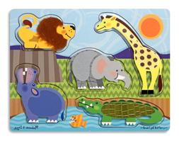 Melissa & Doug Zoo Animals Touch and Feel Textured Wooden Pu