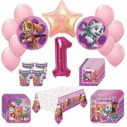 Girl Pups Paw Patrol Skye  Everest 1st Birthday Party Pack 5