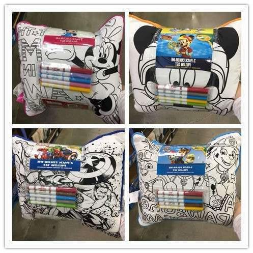 2pk color me pillow assorted licenses