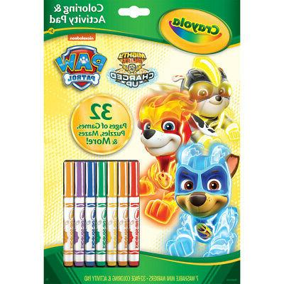 coloring and activity pad with markers paw
