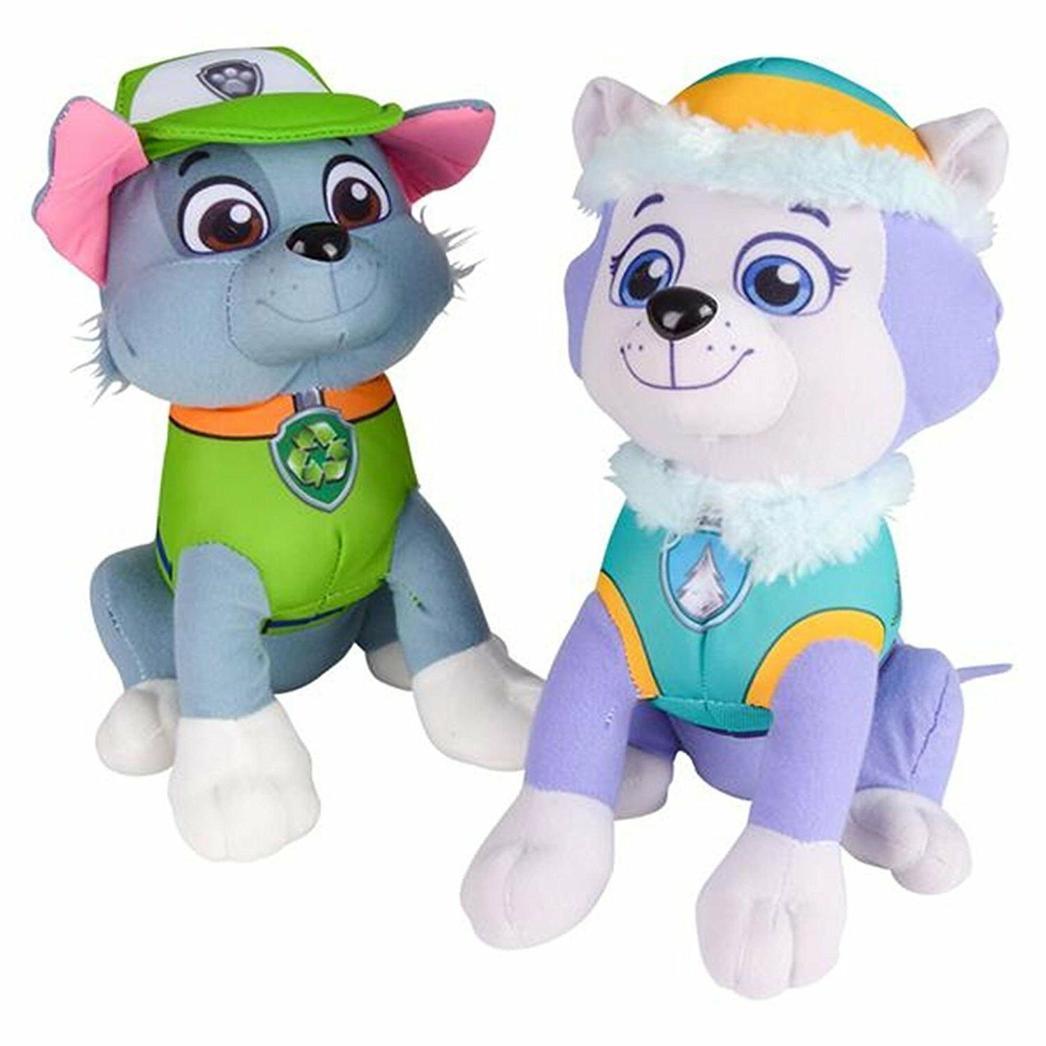 "Paw Patrol Plush Stuffed Figure Everest Rocky Set 10"" Doll K"