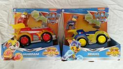 lot 2 pack PAW Patrol Mighty Pups Chase Marshall Deluxe Vehi
