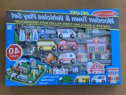 Melissa & Doug Deluxe Wooden Town & Vehicles 40PC PLAY SET B