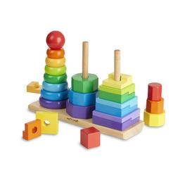 Melissa & Doug Geometric Stacker - Wooden Educational Toy -