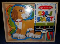 New In Box Melissa & Doug Lace And Trace Pets Wooden Panel &