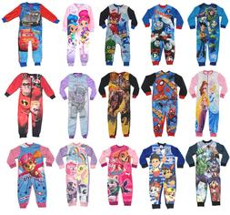 Official Kids All in One Boys Girls Fleece Character Childre
