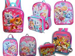 Paw Patrol Girls School Backpack Book bag Lunch Box Kids Gif