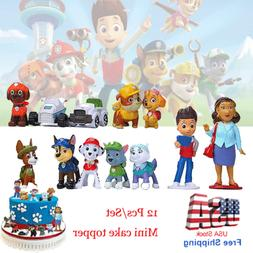 Paw Patrol Mini Figures Cake Toppers Kids Party Toy Cupcake