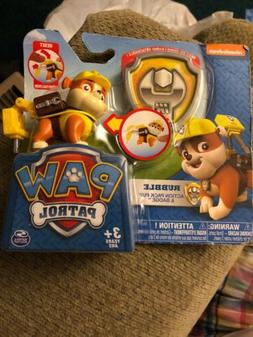 "Nickelodeon Paw Patrol Rubble, Snap on Badge & Pack ""NEW"""