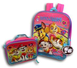 Pink Paw patrol backpack for girls with lunch box set