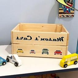 Personalised Kids Cars & Vehicles Toy Box Crate For BOY or G