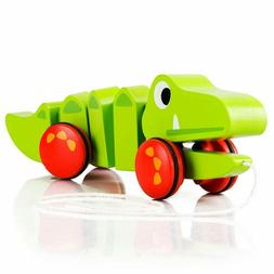 Wooden Pull&Push Toys Alligator High Quality Walk-a-long Tod